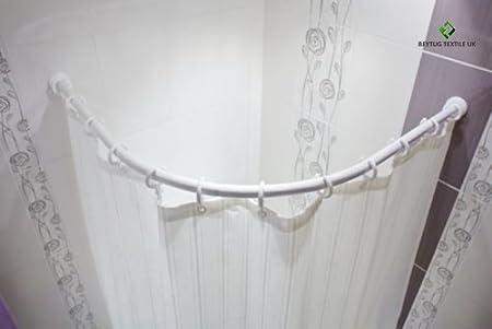 Tropik Home Curved Bath Shower Curtain Rod Rail In White 90 X 90cm 27mm Diameter