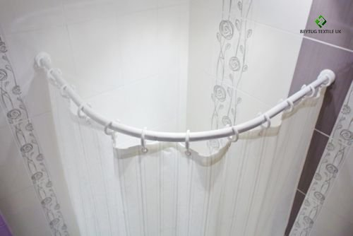 Curved bath shower curtain rod rail in white 90 x 90cm 27mm diameter (White) Beytug