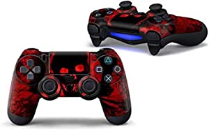 Edencomer Red Skull PVC Skin Decal Stickers for PS4 Gaming Controller