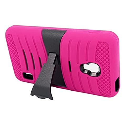 Eagle Cell Hybrid Skin Case with Stand for LG Optimus F6 - Retail Packaging - Hot Pink/Black (Lg F6 Silicone Case)