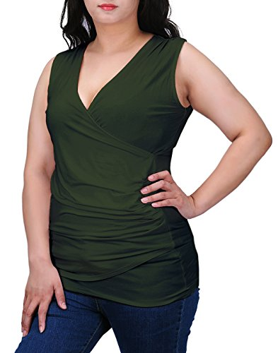 HDE Womens V Neck Ruched Sleeveless Tank Top Surplice Slimming Wrap Sexy Blouse (Olive Green, (Night Long Tank)