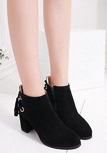 KHSKX-Con Zapatos De Punta Gruesa High-Heeled Mujer Martin Short Y Botas Botas Desnudo Inglaterra Fans Primavera Y Otoño E Invierno Botas Cortas De Terciopelo Plus Brown