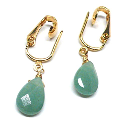 Green Aventurine Briolette Clip-On Screw Back Non-Pierced Earrings Custom (Green Aventurine Briolette Earrings)