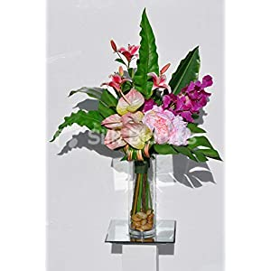 Artificial Pale Pink Silk Peony and Anthurium Arrangement w/Vanda Orchids and Oriental Lilies 63