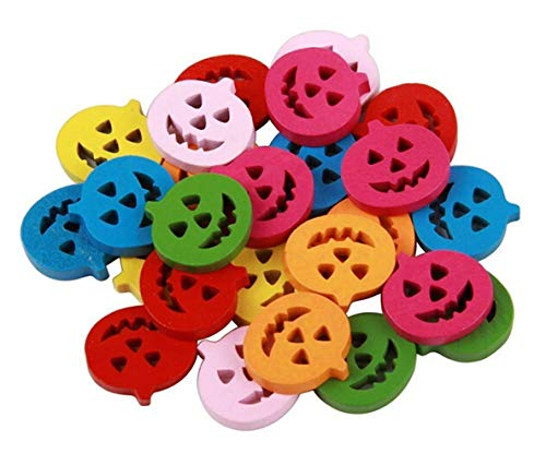 Yevison DIY Sewing Scrapbooking Craft Colorful Halloween pumpkin Flatback Wooden Buttons Approx. 50pcs Durable and Useful