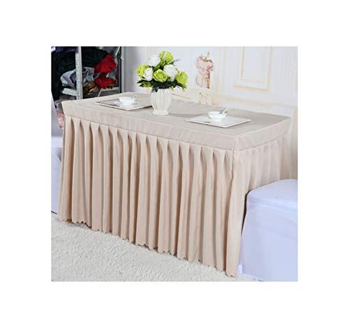 Lmanda Polyester White Banquet for Birthday Wedding Party Table Clothes Lines Table Cover Table Skirting Decoration,180X75X75Cm,Beige