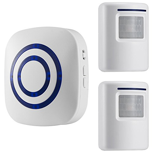 WJLING Motion Sensor Alarm, Wireless Driveway Alert, Home Security System Alarm with 2 Sensor and 1 Receiver -38 Chime Tunes - LED Indicators