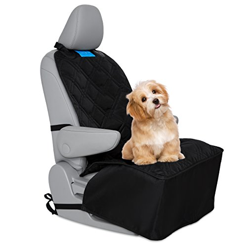 Dog Front Seat Cover - Pet Car Bucket Seat Cover , Heavy Duty Quilted Luxury Material , Waterproof, Nonslip rubber Backing with Anchors , Seat Protector for Trucks, Vans and SUV's Universal Fit