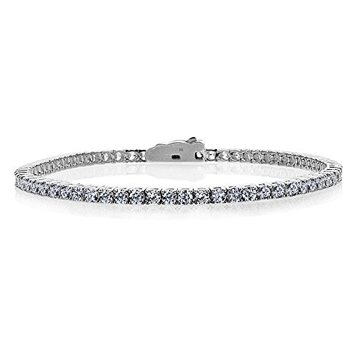(Double Accent 14K White Gold 3mm Round CZ Prong Set Tennis Bracelet (Available 7 & 7.5 Inches), 7)