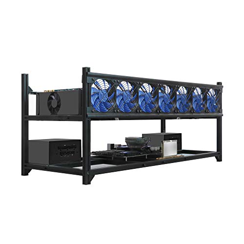 Kingwin Bitcoin Miner Rig Case W/ 6, 8, or 12 GPU Mining Stackable Frame - Expert Crypto Mining Rack W/Placement for Motherboard for Mining - Air Convection to Improve GPU Cryptocurrency (8 GPU)