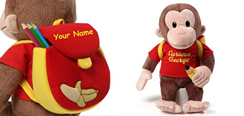 Personalized Curious George with Back to School Backpack Plush Stuffed Animal Toy - 16 Inches