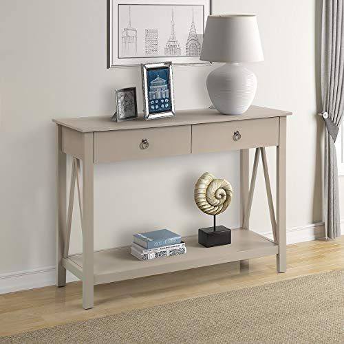 COZYWELL Antique Console Entryway Table, Wood End Sofa Table with Drawers and Bottom Shelf (Ivory White)