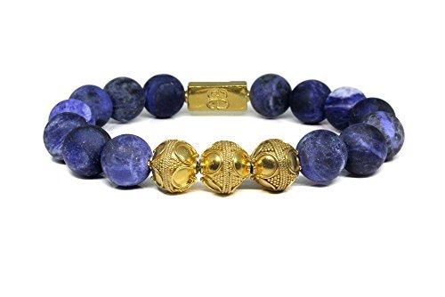 Matte Sodalite Bracelet, Sodalite and Gold Bracelet, Men's Blue and Gold Bracelet, Men's Luxury Bracelet by Kartini Studio