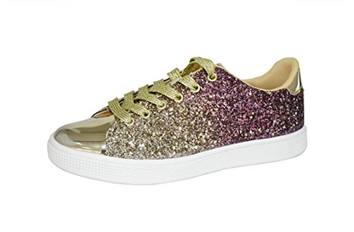 LUCKY STEP Glitter Sneakers Lace up | Fashion Sneakers | Sparkly Shoes for Women (7 B(M) US, Gold)