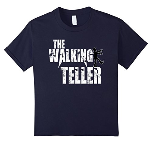 Zombie Costums (Kids Walking Teller tshirts gift cashier zombie scary tees costum 12 Navy)