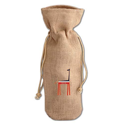 United States Giraffe Jute Burlap Wine Drawstring Bag Wine Sack Natural ()