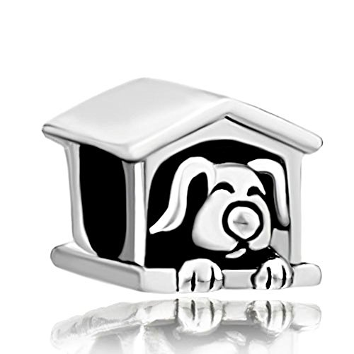 CharmsStory Lucky House Dog Paw Animal Silver Plated Charm Bead For Bracelets