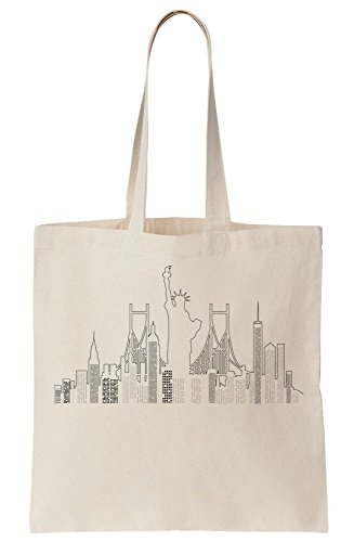 Drawing Skyscrapers Landscape City Bag Minimal York Tote New Canvas City f6xTw4Xq