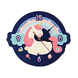 LIZHIHUI Wall Clocks Cute Sweet Dream Unicorn Shaped Coon Unicorn with Colorful Rainbow Girl Nursery Living Room Bedroom Home Decor Office Hotel School Decoration
