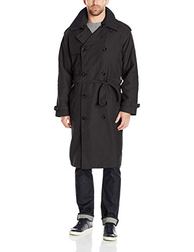 London Fog Men's Raleigh Double Breasted Long Trench Coat with Zip Out Liner, Black, 48R