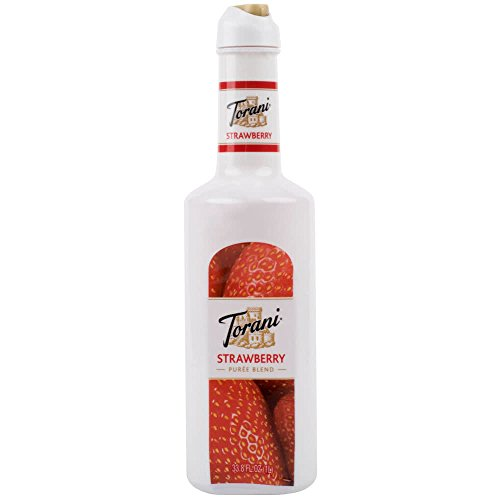 Torani Strawberry Puree Blend 1 Liter: Great for Smoothies, Frozen Drinks, Dirty Sodas and More!