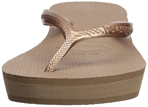 Heel Flop Raised US Gold Havaianas Light Women's Sandals BR Rose High 37 7 M Flip qq0IBYw