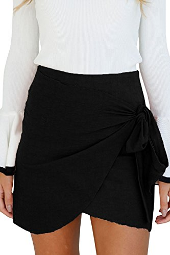 Gamery Women's Basic Waistband Stretch Bodycon Draped Tube Bandage Mini Skirt Small (Womens Jacket Skirt)