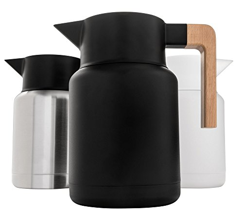 Heavy Duty Thermal Coffee Carafe - Stainless Steel, Double Walled Thermal Pots For Coffee and Teas by Hastings Collective - Black, Vacuum Carafes With Removable Tea Infuser and Strainer | 50 Fl Oz.