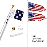 Gientan 25FT Telescopic Flag Pole Kit with 3x5 US Flag, Heavy Duty 16 Gauge Aluminum American Inground Telescoping Flagpole Set with Stainless Steel Clips for Commercial or Residential, Silver