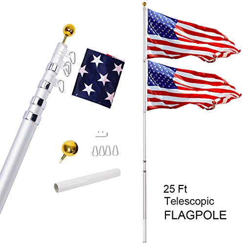 Gientan 25FT TelescopicFlag Pole Kit with 3x5 US Flag, Heavy Duty 16 Gauge Aluminum American Inground Telescoping Flagpole Set with Stainless Steel Clips for Commercial or Residential, Silver