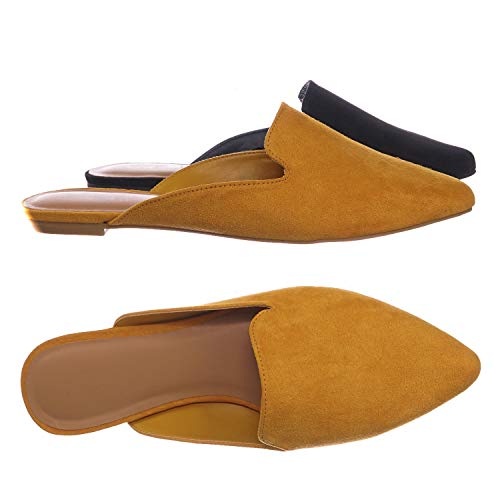 Aquapillar Slip On Mule Slippers - Women Flat Backless Pointed Toe Pump Marigold Yellow