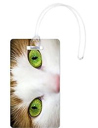 Rikki Knight Close-up of Eyed Cat Design Flexi, White