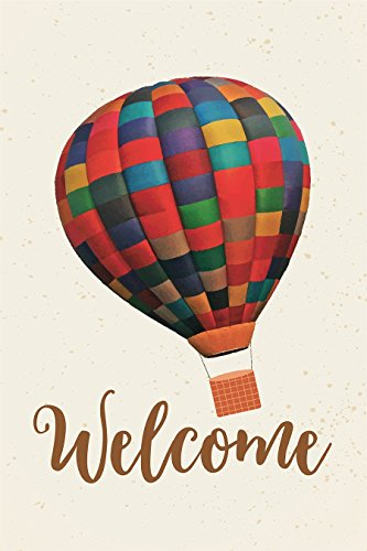 Decorative Garden Flag - Welcome Decorative House Flag Banner, Outdoor Lawn Decoration, Hot Air Balloon Illustration, 12.3 x 18.5 Inches (Air Small Hot Balloon)