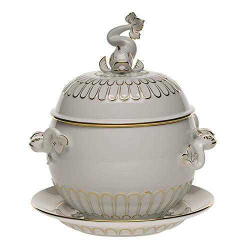 Herend Golden Edge Porcelain Tureen with Platter