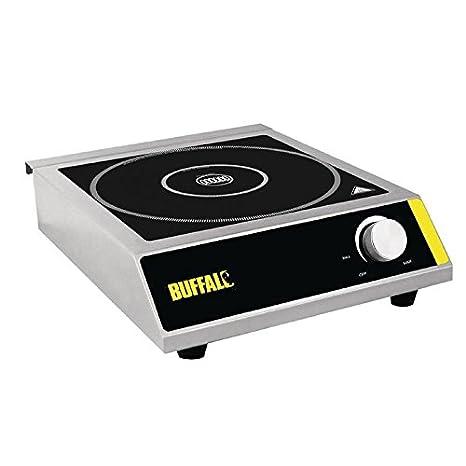 Buffalo - Placa de inducción 3000 W, 100 x 330 x 430 mm, acero inoxidable, vitrocerámica, placas calientes