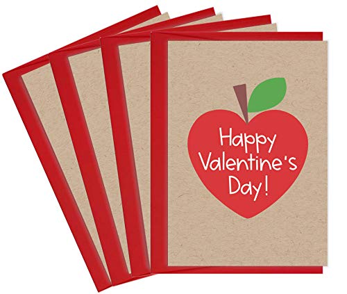 Valentines Day Cards for Teachers   4 Teacher Valentine Cards with Envelopes   Made in the USA (Heart Apple)