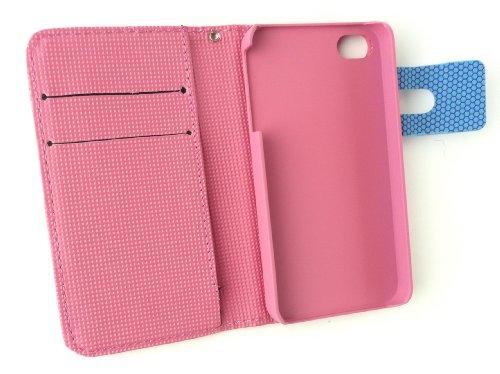 Emartbuy® Apple Iphone 4S / 4G / 4Gs Caja De La Carpeta Del Pixel / Cubierta / Bolsa Rosa / Azul Con Ranuras Para Tarjetas De Crédito