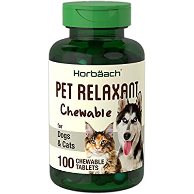 Cat Health Products Calming Treats for Dogs & Cats | 100 Pet Relaxant Chews | Gluten Free & Non-GMO | Natural Beef Flavored | by Horbaach [tag]