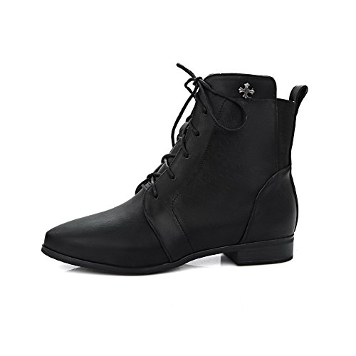 Women's Black WeenFashion Closed Toe top Pointed Zipper Material Low Heels Soft Low Boots dqqwnv7