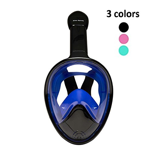Snorkel Mask Panoramic Full Face Design for Adults and Youth Will Provide HOURS OF FUN, Xino Sports Diving Mask, Perfect View with Large Viewing Area, Available in 3 Colors