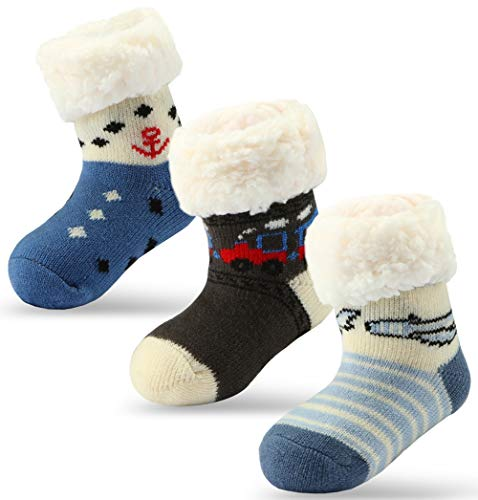 3 Pairs Newborn Infant Toddler Slipper Socks Baby Girls Boys Sherpa-lined Grips Socks Christmas Socks Kids Fuzzy Home Socks (3 Pairs Boys, Fit Age 0-18 Months) (Sherpa House)