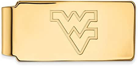 14k Yellow Gold LogoArt Official Licensed Collegiate West Virginia University (WVU) Money Clip