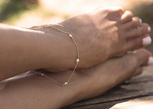 Cz Diamond Anklet, Delicate Gold Filled Anklet, Diamond Anklet Bracelet, station diamond anklet, Bridesmaids Gift, Bridesmaids Bracelet, Silver Anklet, Gold Anklet, Rose Gold Anklet by Capucinne