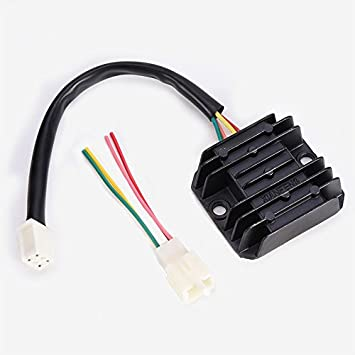 Amazon.com: Rectifier 4 Wires Voltage Regulator Replacement for Boat Motor  Mercury ATV GY6 50 150cc Scooter Moped JCL NST TAOTAO: Automotive | Gy6 Regulator Wiring Diagram |  | Amazon.com