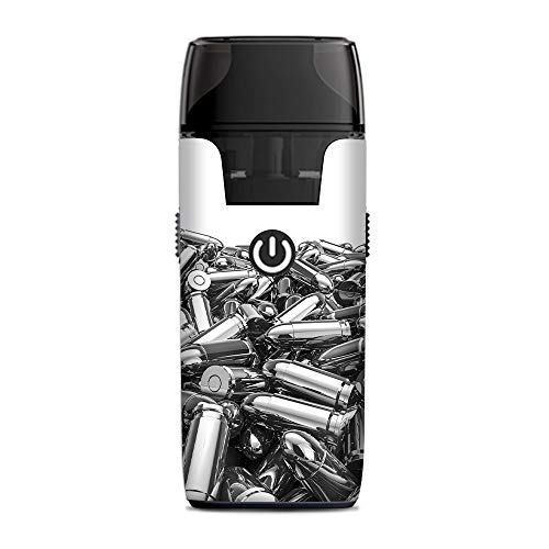 (IT'S A SKIN Decal Vinyl Wrap for Aspire Nautilus AIO Pod System Vape Sticker Sleeve Cover/Silver Bullets Polished Black White)