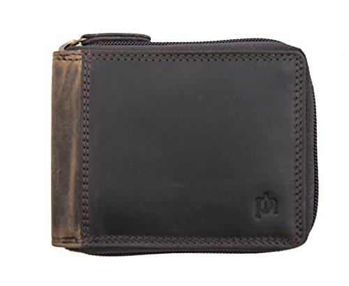 RFID Blocking Flap Opening Prime Hide Men/'s Luxury Black Leather Credit Card Wallet