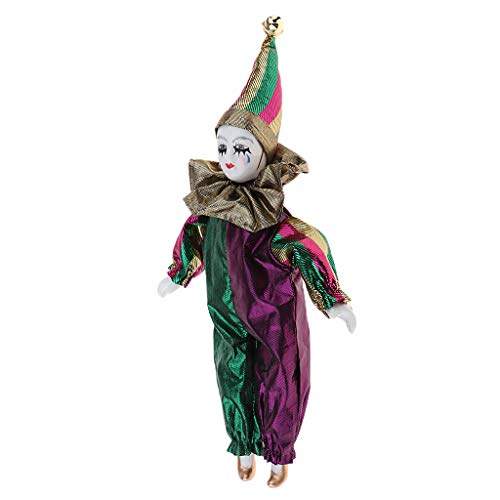 (Prettyia Clown Porcelain Doll Wearing Outfits for Halloween Party Tricky Props)