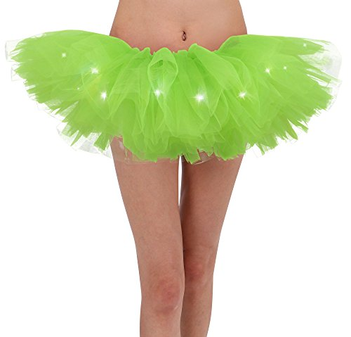 Women's Vintage Cosplay Costume Ballet Adult LED Tutu Skrt, Fluorescent -