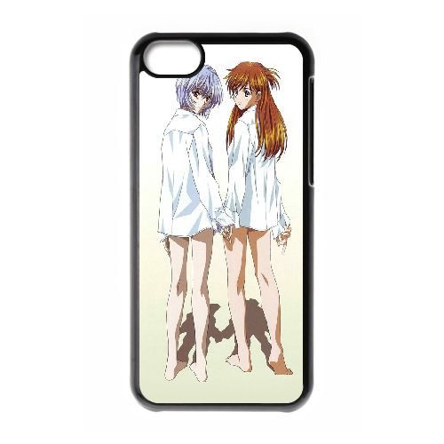 Ayanami Rei And Asuka Langley Soryu coque iPhone 5C Housse téléphone Noir de couverture de cas coque EBDOBCKCO11567