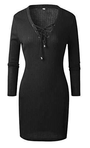 Club Solid Lace Up Mini Dress Neck Bandage Black Women's Ribbed Domple Color V FqW1xzC